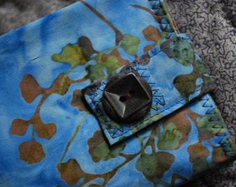 Womens wallet - robin egg blue, soft brown and green batik - coin pocket FREE SHIPPING