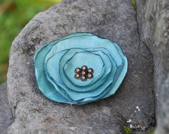 Fabric Flower Brooch - Handmade Flower Brooch - Teal Bue and Brown