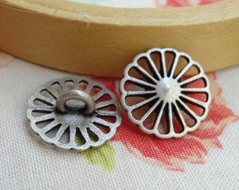 """12 Round Sunflower Metal Shank Buttons. Vintage. 1/2"""" button.  15mm  BTTN15"""