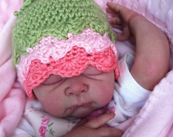 Baby Hat Crochet Pattern No.125 Fifi Flower Bud with Leaves