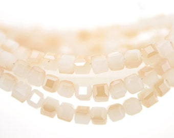 Cube Crystal Glass Faceted beads 4mm White Champagne - FZ0414/ 95pcs