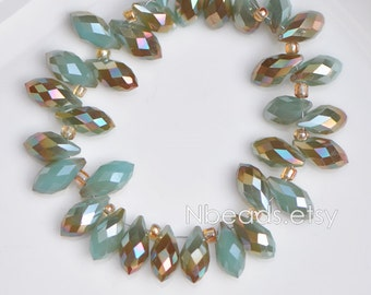 95pcs Crystal Teardrop Faceted Glass beads 6x12mm Blue Copper Briolette -(#HS06-04)