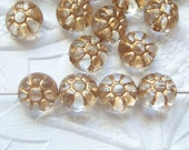 24 -Antiqued acrylic gold accented round disc bead lot of  textured beads lot of (24)- BL72