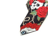 Skull and Roses Day of the Dead Necktie, Mens tie