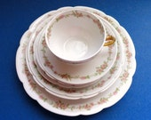 7 pc. Limoges France China Place Setting Dinner Set with Pink Flower GarlandRim// Vintage Shabby Chic//Serveware//Dining//Entertaining