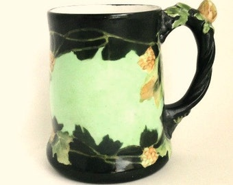 Antique J P L  France Limoges Stein Hand Painted Green Floral, Signed, 24oz.//Vintage Serveware//Barware//Vintage Collectibles