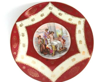 Austria Courting Couple Plate Red Circa 1900-Blue Behive Mark//Vintage Serveware//Vintage Wall Decor