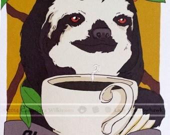 Slothee Coffee- sloth vintage ad style illustration