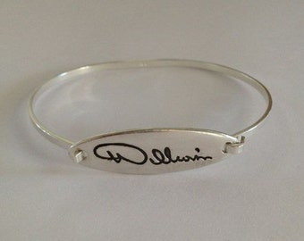 Memorial Jewelry SIlver Bracelet - From Writing you provide to me NEW SHAPE - Longer and Narrower- Made to order