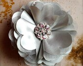 Tulle and satin flower puff with  rhinestones in red, pink, lime, white, yellow, silver, grey, ivory, eggplant, brown, rose, navy, teal.