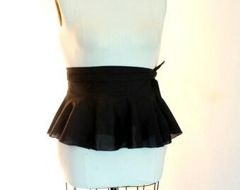 Black Peplum Belt size 2 - 14 cotton