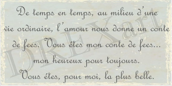 FRENCH Handwriting STENCIL LOVE Gives Us A Fairytale