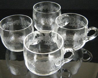 Set of 4 Vintage Etched Toddy Cups