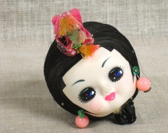 Doll Head , Female Doll Head , Art Supplies , Craft Supplies , Doll Supplies , Doll Parts , Costume , Ethnic Costume , Hat , Vintage Child
