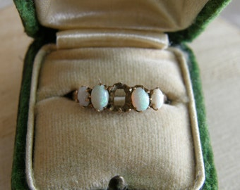 Antique rose gold and opal ring, size 7 1/4, missing center stone - in original box