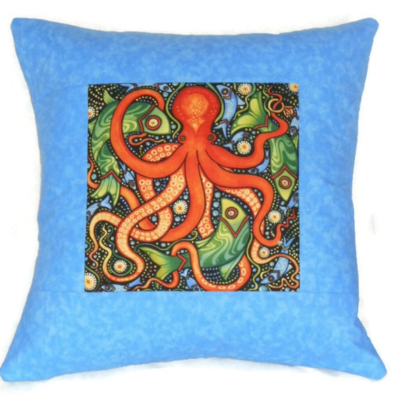 Quilted Pillow Cover Folk Art Octopus in Blue and Rust