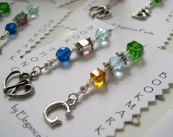 Bookmark Bonanza - Set of Five (5) Custom Beaded Book Thong Bookmarks with Personalized Pewter Charms - You Pick From Entire Shop