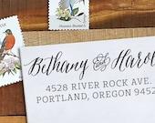 Custom Address Stamp - Calligraphy Stamp Eco Mount - wedding stamp - Bethany