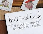 Custom Address Stamp - Calligraphy Stamp - Self Inking  - wedding stamp - Emily