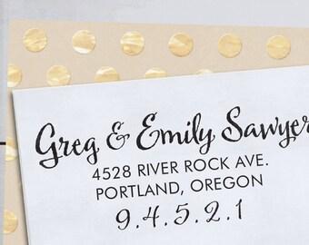 Custom Address Stamp - Calligraphy Stamp Eco Mount - wedding stamp - housewarming gift - Sawyer