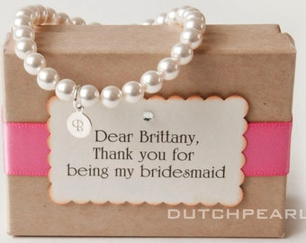 6 SETS 6mm pearl bracelet personalized - bridesmaid gift monogram charm personalized wedding jewelry card I will you be my bridesmaid