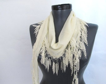 Cream scarves - Fringed Guipure Scarf - Fabric Lace Scarf - Scarf sale - Cowl Scarf - Long Scarf