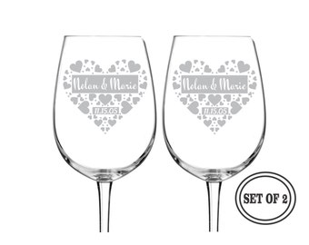 2 PERSONALIZED Wine Glasses ETCHED Wine Glass Wedding Gift Pair Custom Engraved Wine Glasses Drinking Toasting Glasses Valentines Day Gift