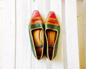 SALE vintage brown leather slip ons, tribal multicolor flats, womens shoes size 7.5, 8