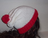 Red and White, White and Red, Beanie, Hat, Striped Hat, Pom Pom, Christmas Hat, Costume Hat, Valentines Day Gift