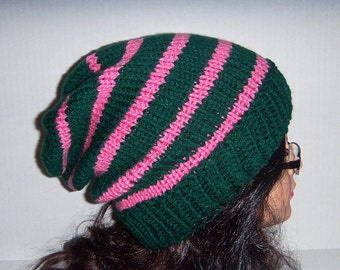 Green and Pink Knitted Striped Slouchie Beanie Hat, Emerald Green and Bubble Gum Pink Hat