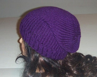 Purple Slouchy Knitted Hat, Womans Accessories, Knitted Beanie, Winter Hat