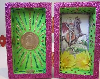 St. George mini nicho, shadow box, Voodoo altar, Ogou Badagri shrine, folk art