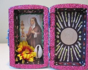 St. Clare mini nicho, Catholic altar, Voodoo shrine, spirit house, folk art