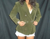 Summer SALE Vintage 80's KENZO Blazer Jacket Olive Corduroy Double Breasted Menswear Style Made in Paris Size 38