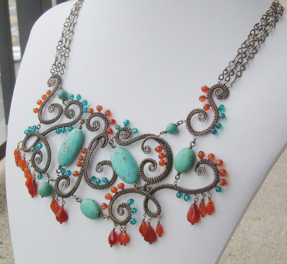 Wire-wrapped Boho statement necklace - Bronze Age Jewelry