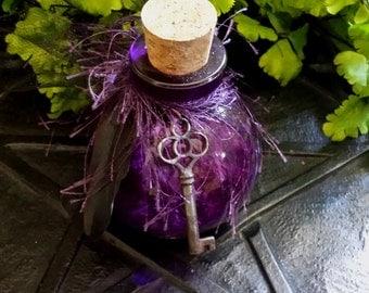 Hecate Bottle, Skeleton Key, Goddess Hecate, Purple Bottle, Dark Goddess