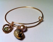 Sea Shell Charm Bracelet, Pearl and Peridot, Adjustable Stacking Bangle,Gift For Her, Custom Charm Bracelet, Made to Order