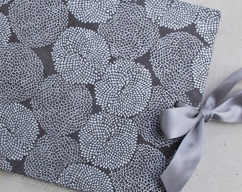 Wedding Guest Book, Silver Mums on Slate Gray, Select a size, MADE upon ORDER