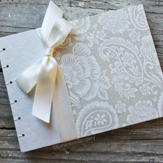 Floral Guest Book, Elegant Wedding Guest Book, Ivory Paisley, {MADE upon ORDER}