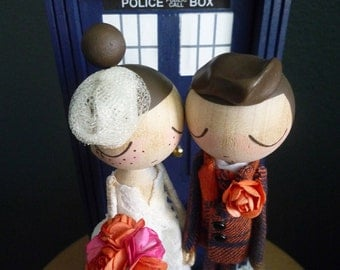 Wedding Cake Topper with Custom Wedding Dress and Doctor Who Door Background by MilkTea