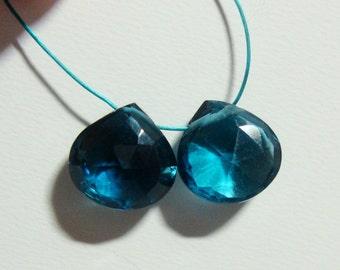 Genuine London Blue Topaz Mirco Faceted Heart Briolette, AAA, 8-8.5mm, 2 pcs