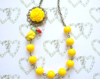 Yellow Necklace Parrot Necklace Exotic Flower Jewelry Tropical Jewelry Exotic Necklace Yellow Summer Jewelry Tropical Bird Necklace
