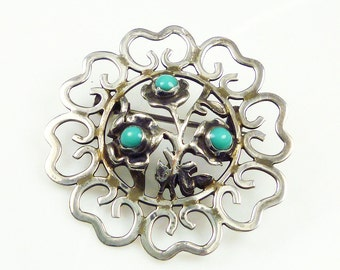 Mexican Sterling, Sterling Brooch, Silver Jewelry, Turquoise Stone, Flower Floral, Vintage Jewelry