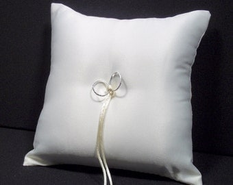 DIY White or Ivory Wedding Ring Bearer Pillow DECORATE YOURSELF!
