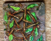 Wiccan Witch Altar Tile of Slate Painted in Oils by Christine Rietsch for Pagan Worship and Magick