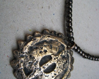 Hammered Blackened Bronze Maya Pendant with Black Glass Seed Beads - Bronze Pendant - Archaeology