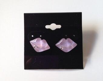 Purple Lips Post Earrings