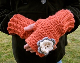 Girls Fingerless Gloves- Coral- Size 10-Petite Teen- Ready to Ship