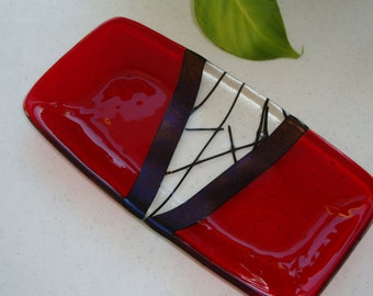 Fused Glass Dish - Chopstix Collection Red 4114