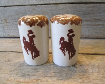 Wyoming Cowboys Salt and Pepper Shakers, Officially licensed